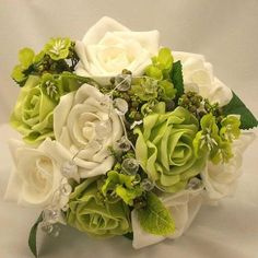 Green and White Rose with bling