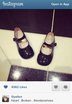 Lily Allen shares a picture of our pretty 'Caty' shoes in Black Patent from our Classics collection.