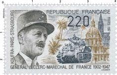 Timbre : 1987 GÉNÉRAL LECLERC-MARECHAL DE FRANCE 1902-1947 KOUFRA-PARIS-STRASBOURG   WikiTimbres