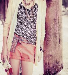 J. Crew Must-Do.  Long cardi + pattern top + shorts + grosgrain ribbon bow belt + long necklaces