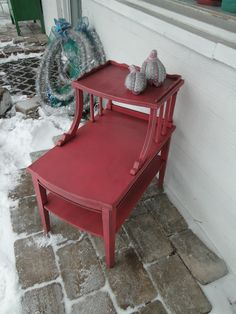 Coral Crush vintage painted 3 tier end table distressed and glazed. Modern Vintage.