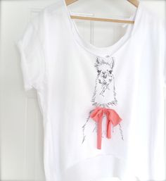I heart llamas! ID embroidered LLAMA scoop neck cropped shirt by ImagoDRIFT, $40.00