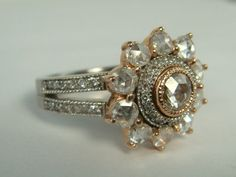 Rose Cut Diamond Engagement Ring, Diamond Engagement Ring, Vintage Ring, Georgian Style Ring, Flower Ring, Antique Style Ring. $2,500.00, via Etsy.