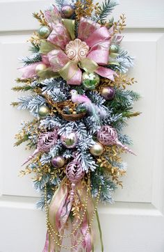 Timeless Shabby and Chic Swag Wreath by timelesshomedecor on Etsy, $104.95
