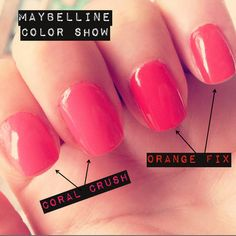 Maybelline Color Show Nail Lacquer in Coral Crush and Orange Fix.