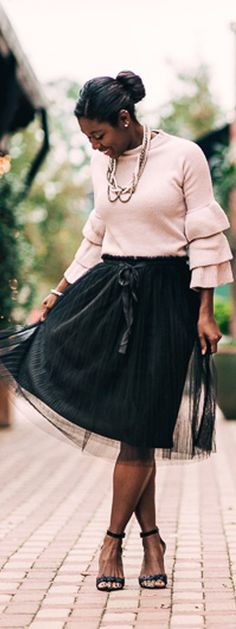 Winter Style.  Pink  tiered ruffle sleeve sweater from SheIn  Black tulle skirt from Francesca's, black sparkle strap heel from Nine West + Give Away  Sidelinesocialite.com
