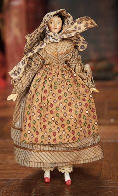 * Grodnertal Carved Wooden Doll in Antique Costume 1860