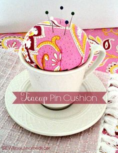 Easy and Cute Teapot Pin Cushion tutorial. sewlicioushomedecor.com