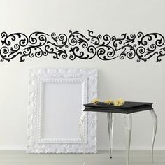 wisteria border stencil see more border stripe stencils. Black Bedroom Furniture Sets. Home Design Ideas