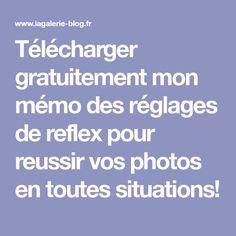 Télécharger gratuitement mon mémo des réglages de reflex pour reussir vos photos en toutes situations!