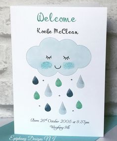New Baby Boy Card Personalised Sleepy Cloud with glitter raindrops and diamanté