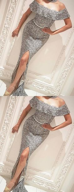 luxury off the shoulder silver sequined prom dress with split, elegant bodycon paty dress with ruched