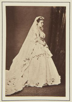 """Princess Helena, in her wedding dress, 5 July 1866 [in Portraits of Royal Children Vol.10 1866-67] 