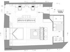 architectural floor plan hotel room Laura Martí2015 Architectural Floor Plans, Hotels, Flooring, How To Plan, Architecture, Room, Hotel Bedrooms, Wood Flooring, Rooms