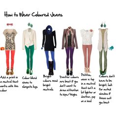 How to wear coloured jeans, created by imogenl.polyvore.com