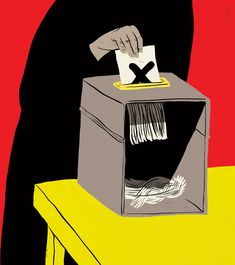 "Paul Blow - ""Elections in the Islamic States"" for the Guardian. Vivid and contrasting colours create visual unease. The block colours are also powerful and slightly overwhelming. The details in the linework are stylised to help suggest the exaggerated message.  Very recognisable images of the ballot box, a vote (X) and the black colour and visible hand associated with a Burqa. Builds off a cultural awareness to make this easy to understand as well."