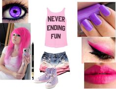 """PINK AND PURPLE!"" by fredweasleyorisitgeorge ❤ liked on Polyvore"