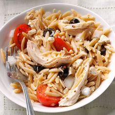 Mediterranean Orzo Chicken Salad Recipe -On hot days, I pull out this recipe for a cool supper. The lemon dressing is so refreshing. If you have it, used grilled chicken. Leftover Rotisserie Chicken, Leftover Chicken Recipes, Chicken Salad Recipes, Orzo Recipes, Chicken Salads, Greek Recipes, Easy Weeknight Dinners, Quick Meals, Healthy Recipes