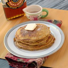 Pumpkin Spice Pancakes...I will substitute gluten-free flour for the flour, sucanat for the brown sugar, almond milk for the milk.