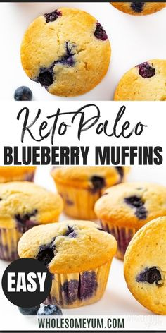 Keto Low Carb Paleo Blueberry Muffins Recipe with Almond Flour - Ultra moist almond flour blueberry muffins from scratch are quick and easy to make! This low carb paleo blueberry muffins recipe takes just 30 minutes. #wholesomeyum