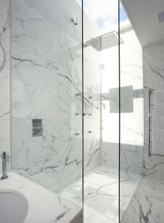 Full slab marble shower.  just want something EASY to clean (not tile with grout)