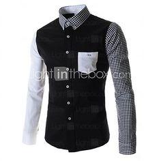 Camisas ( Negro/Blanco , Algodón ) - Casual - Impresión - Manga Larga - para HOMBRES   LightInTheBox