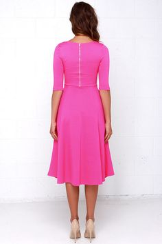 You've got an invitation to look like a million bucks in the Having a Shindig Hot Pink Midi Dress! This midi dress has a flared skirt and a form flattering bodice. Pink Dress Outfits, Hot Pink Dresses, Pink Midi Dress, Midi Cocktail Dress, Princess Seam, Flare Skirt, Half Sleeves, Perfect Fit, Dresses For Work