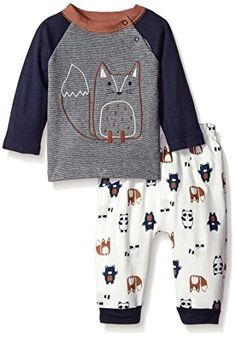 Rene Rofe Baby Boys 2 Piece Tee and Pant Set Forest Friends Blue 69 Months -- Read more at the image link.