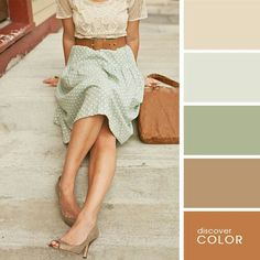 Colores beige, cafe y verde