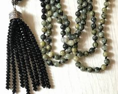 gift women xmas, long green tassel necklace, versatile  BOHO necklace, daily chic necklace, dress up black necklace, night out necklace