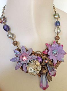 Vintage Enamel Flower   Lilac Lavender Blue by JaelDesigns on Etsy, $85.00