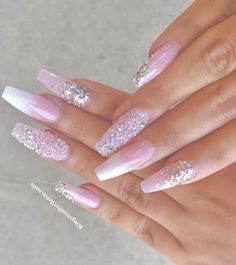 ✨ folgen @ trυυвeaυтyѕ für mehr ρoρρin pins❗️ - Coffin Nails coffin nails with bling Pink Nail Designs, Acrylic Nail Designs, Bling Nails, My Nails, Bling Bling, Gorgeous Nails, Pretty Nails, Nagel Bling, Nagellack Design