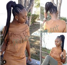 Feed In Braids into a ponytail