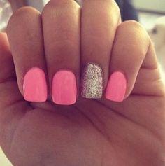 Bubble gum pink & Gold Glitter Accent