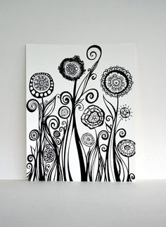 Original Pen and Ink Line Drawing with Circles, Swirls, and Tiny Pods - Tall Abstract Garden 8x10