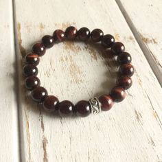 Genuine Red Tiger's Eye Bracelet w/ Sterling Silver Accent~ Integrity, Protection and Willpower