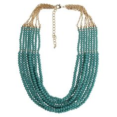 Women's Fashion Beaded 8 Row Necklace - Gold/Grey (21.5)
