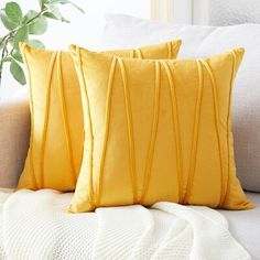 Top Finel Decorative Hand-Made Throw Pillow Covers Soft Particles Velvet Solid Cushion Covers 18 X 18 for Couch Bedroom Car, Pack of Mustard Yellow Handmade Pillow Covers, Decorative Pillow Covers, Throw Pillow Covers, Cushion Covers, Rosa Beige, Pillow Covers Online, Chevron Throw Pillows, Yellow Pillows, Accent Pillows