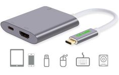 USB3.1 Type-C to HDMI 1080P + USB3.0 + Type-C - Grey USB 3.1 (Type C) to HDMI+USB3.0+Type C PD charging port hub. Works with the new Macbook, Chromebook Pixel/Dell XPS 13/Yoga 900/Asus Zen AIO/Lumia 950 etc Notebook. USB-C (USB3.1) female port only for input. It only charge your Macbook or other USB-C notebook, USB-C female port supplies power up to 60W(20V/3A)