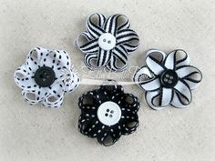 Small Loopy Ribbon Flower Hair Clips choice of 4 by EllaBellaBowsWI, $14.00