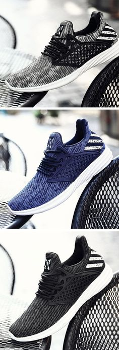 6ce00fcf2d192 Men Knitted Fabric Breathable Lace Up Light Running Sneakers is fashionable  and cheap