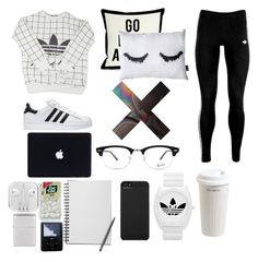 """""""Health goth lounge"""" by draegan on Polyvore featuring adidas, adidas Originals, Mr. Coffee, Incase and Ray-Ban"""