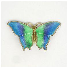 English Art Deco Silver Enamel Butterfly Brooch