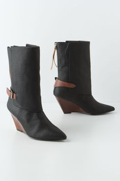 Waxed Canvas Wrap Boots - Anthropologie.com