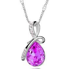 Swarovski Element Austrian Crystal Water Drop Pendant Necklace