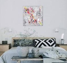 Geometric Abstract Modern Painting Colorful Rhombus Triangles Triangles, Home And Living, Tapestry, Colorful, Abstract, Storage, Trending Outfits, Modern, Painting