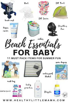 11 Beach Essentials for Baby: beach must haves for baby beach tent baby beach mat beach pool beach float beach toys 11 Beach Essentials for Baby - Healthy Little Mama She Births Bravely moregigglingmoments First Time Mom 11 Beach Es Beach Essentials, Baby Beach Tent, Toddler Beach, Baby On The Beach, Baby Am Strand, Strand Pool, Baby Lizards, Beach Cart, Swimming Pools