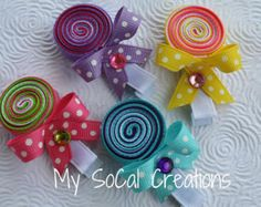 Rainbow Heart Ribbon Sculpture Hair Clip No by MySoCalCreations