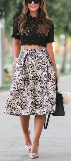 Lace crop top + floral midi skirt.