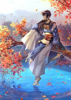 """Touken Ranbu - """"/cm/ - Cute/Male"""" is imageboard for posting pictures of cute anime males. Manga Anime, Manga Boy, Anime Art, Anime Boys, Touken Ranbu Mikazuki, Kanna Kamui, L Death, Bishounen, Japanese Outfits"""